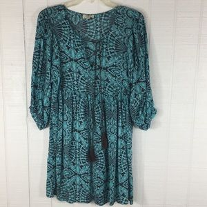 Umgee Dress Tunic Tassels Floral Paisley Print S
